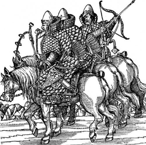 Русские дворяне в вооружении. С гравюры С. Гербертштейна