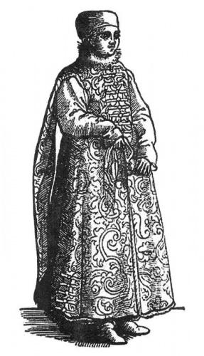 Русская знатная женщина. Гравюра XVII века
