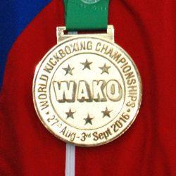 Золотая медаль победителя чемпионата мира по кикбоксингу