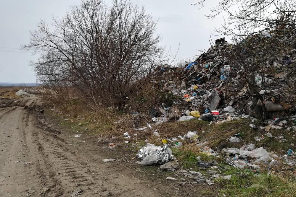 Свежий мусор на закрытой городской свалке вблизи Ельца