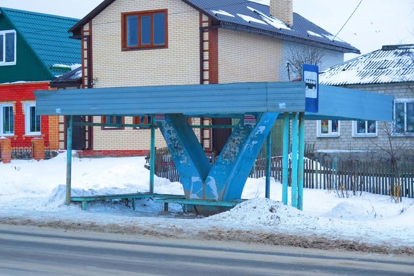Автобусная остановка в Ельце на Промышленной улице
