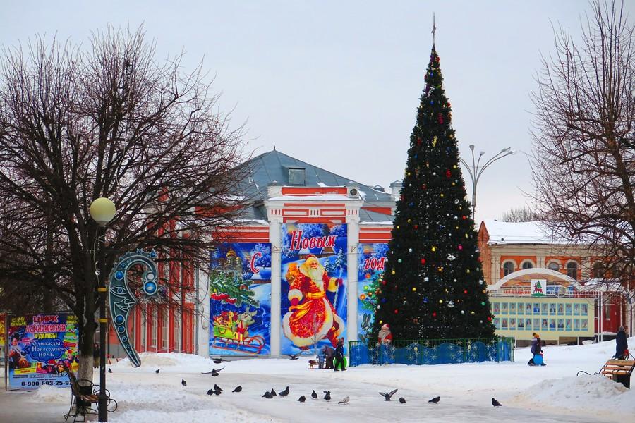 Новогодняя ёлка на площади Ленина в Ельце